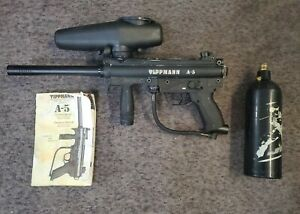 Tippmann A5 Paintball Gun Tested W/Hopper, Jt 20oz tank,manual