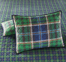 $60 Martha Stewart Rhinebeck Plaid Green/Blue Quilted Standard Pillow Sham