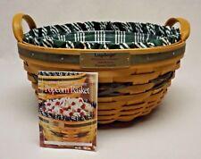 Longaberger 1999 Christmas Collection Green Popcorn Basket w/ Liner & Protector