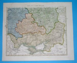 1860 ORIGINAL MAP UKRAINE RUSSIA MOLDOVA BELARUS KIEV MINSK WOHLYNIA CRIMEA