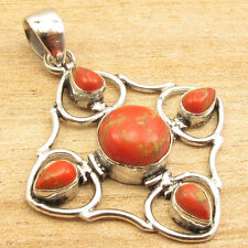 "1.9"" 925 Silver Plated Nice Gift Orange Copper Turquoise 5 Gem Royal Pendant"