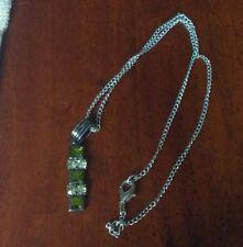 Verde Color Argento Strass Set Collana Ciondolo Bigiotteria