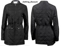 LADIES WOMANS QUILTED WATERPROOF spring JACKET COAT LONG 8 10 12 14 16 18 20 22