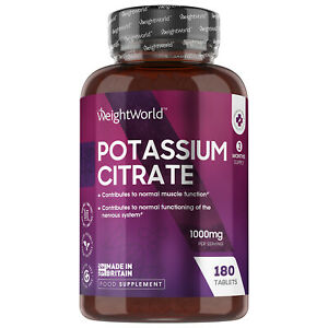 Potassium Citrate 1000mg 180 Capsules Vegan for Blood Pressure, Muscle and Nerve