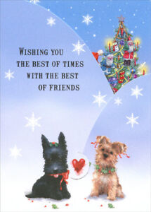 Ready for Christmas Puppies Box of 12 Tri-Fold Panorama Dog Christmas Cards