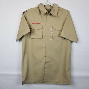 BOY SCOUTS Of America POPLIN Uniform Shirt BSA Khaki Scout Mens NWT Adult Sz Sm