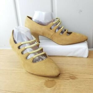 Women Dolcis Leather Strappy Heels Brown Pointed Toe Kitten Sz 10 M Elastic Shoe