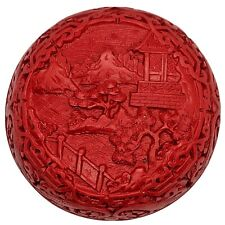 Vintage Chinese Hand Carved Red & Black Resin Box Artwork Old Asian Home Scene
