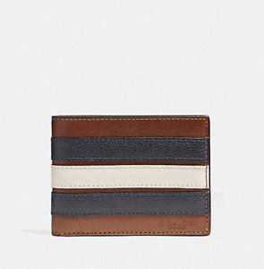Coach Varsity Stripe Slim Billfold Leather Wallet SADDLE/MIDNIGHT NVY/CHALK NWT