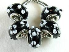 5 pc Black w/ Raised Flowers Lampwork Bead Charms For European Big Hole Jewelry