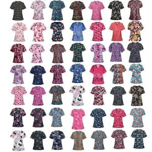 Women Fashion Tops Short Sleeve V-neck Print Shirts Working Uniform Loose Blouse