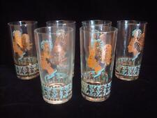 Set of 6~Vintage~Mid Century~Drinking~Tumbler Glasses~Egyptian~Tribal Motif~Gold