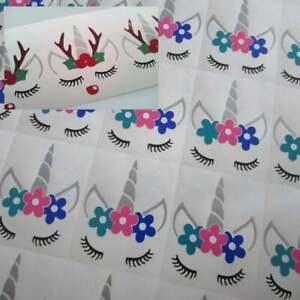 Unicorn Face Vinyl Sticker Christmas bauble decoration Wine Glass Party DIY 10pk