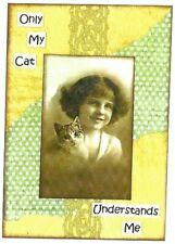 ACEO ATC Art Collage Print Ladies Women Girl Kitten Cat Grey Tabby Cat