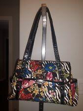 TREVISO black floral mock croc purse shoulder bag tropical botanical flowers