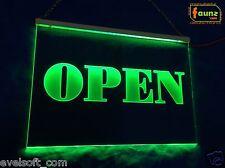 """LED Leuchtschild """"OPEN"""" grün opak oder Ihr Werbetext Eingang Tür offen ©faunz"""