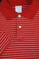 Brooks Brothers Men's Red White Stripe Cotton Casual Polo Shirt L Large