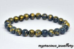 Natural Jasper Cloisonne Black Gold Bracelet Elasticated Beaded Reiki Chakra UK