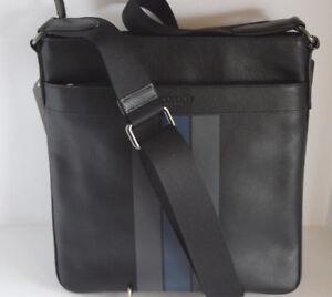 NWT Coach 54193 Mens Charles Crossbody Varsity Leather Black Graphite Gray Denim