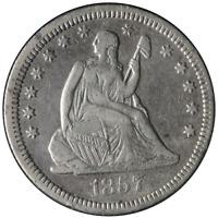 1857-O Seated Liberty Quarter Nice VF Nice Strike Tough To Find