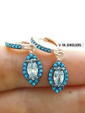 925 STERLING SILVER TURKISH HANDMADE JEWELRY NANO TURQUOISE TOPAZ EARRINGS E1125