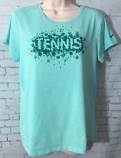 Nike Tennis Tshirt Splatter Swoosh Dri-Fit Crewneck Aqua Blue Turquoise Large