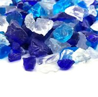 "Cobalt Blue Clear 1/2"" - 1"" Premium Large Fire Glass for Fireplace and Fire Pit"