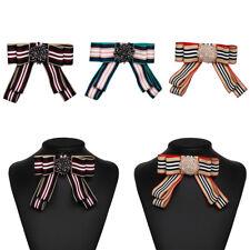 Women Vintage Striped Bowknot Bow Tie Rhinestone Crystal Brooch Pin Charm Beaded