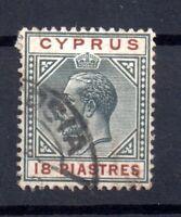 Cyprus KGV 1912-15 18PI fine CDS used SG#83 WS15648