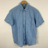 Gazman Mens Button Up Shirt Medium Blue Floral Short Sleeve Collared Linen Blend