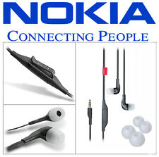 100% ORIGINAL NOKIA WH-205 Stereo Headset Hands Free Earphone Black + 2 Ear Buds