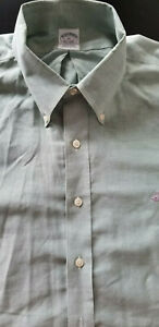 BROOKS BROTHERS Men Classic Fit Cotton Long Sleeve Polo Dress Shirt - XL Green