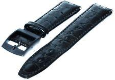 Orologi bracciale compatibile per Swatch 17 mm vera pelle nero pelle semianilina