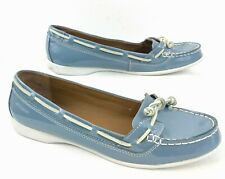 8ddb627ac4056 Women's Sebago Felucca Lace Patent Leather Blue Boat Shoe Loafer Sz 8M EUR  38.5