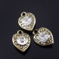 50X Vintage Bronze Tone Alloy Heart With Rhinestone Pendant Findings 11*9*3mm