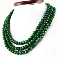 890.00 Cts Earth Mined Green Emerald 3 Line Round Faceted Beads Necklace (DG)