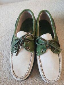 Ladies Sebago Spinnaker Dockside . Deck shoe. 4.5 . Cream /green. Suede. Ex