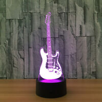 3D Guitar LED Night Light 7 Color TouchSwitch Table Desk Lamp Xmas Gift