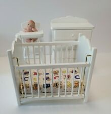 Dollhouse miniatures 1:12 furniture lot nursery crib highchair dresser baby