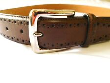 Cole Haan Mens CHOCOLATE Belt Size 40 Perforated Trim Dress New Man Made