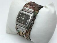 Fossil Women Watch Genuine Leather Braided Band Date Calendar Analog Wrist Watch