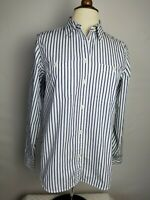 Lauren Ralph Lauren M Top Striped Blue White Button Up Shirt Long Sleeve