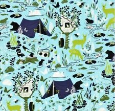 OOP Tula Pink - MOON SHINE - Forest Frivolity - Sky , 100% cotton Fabric