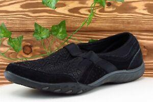 Skechers Women Sz 8.5 M Black Slip On Walking Leather Shoe