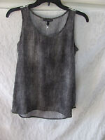 Eileen Fisher Scoop Neck Hazy Printed Silk Crepe Shell Top- Black-Size 2XS -$258