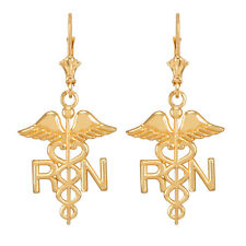 14k Yellow Gold Medical Registered Nurse Drop / Dangle Leverback Earrings