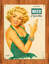 """TIN SIGN """"Weed Cigarettes Pin-Up"""" Marijuana Tobacco Menthol Woman Wall Decor"""