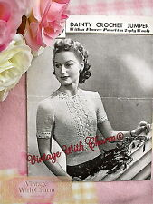 Vintage 40s Crochet Pattern Lady's Stunning Lace-Look Jumper!!  £2.79 Free P&P!