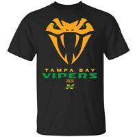 Tampa Bay Vipers XFL 2020 Snake Short Sleeve T-Shirt, Cotton Tee, Black Color
