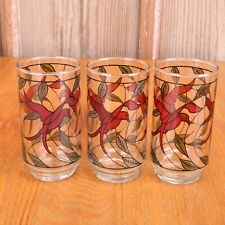 3 Hummingbird Glass Tumblers Water Glass Cup Red Green Clear